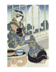 Donna giapponese che legge al chiaro di luna